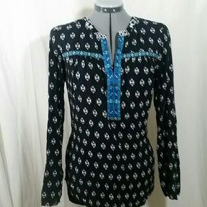 ANTHRO One September Black & White Blouse Size XL
